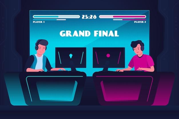 Концепция онлайн-игр с друзьями, играющими Бесплатные векторы
