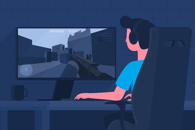 Online games concept with man playing Free Vector
