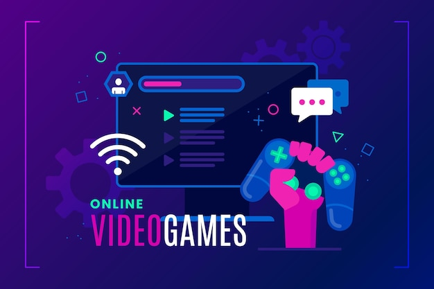 Концепция онлайн игр Бесплатные векторы