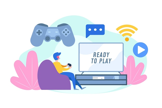 Free Vector Online Games Concept