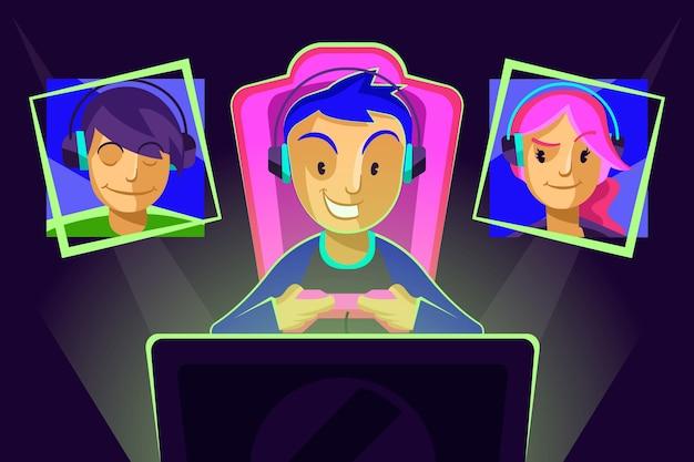 オンラインゲームのコンセプト 無料ベクター
