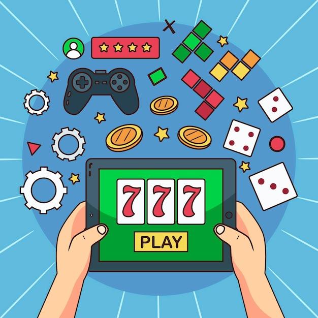 Онлайн игры иллюстрированный дизайн Бесплатные векторы