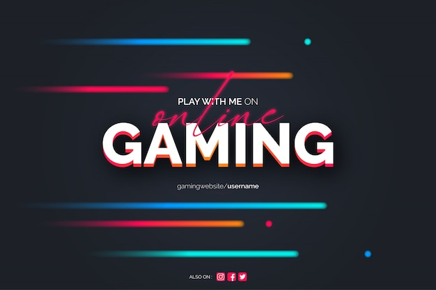 Online gaming background with neon lines Free Vector