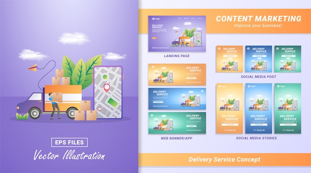Online goods delivery services Premium Vector