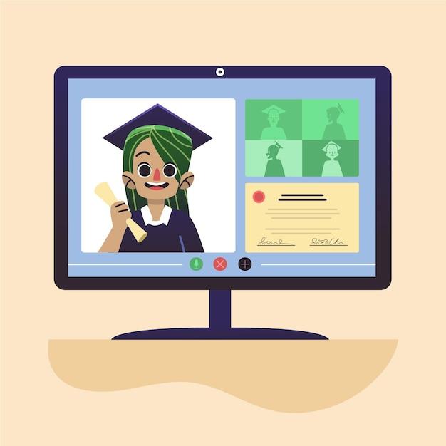 Cerimonia di laurea online Vettore gratuito