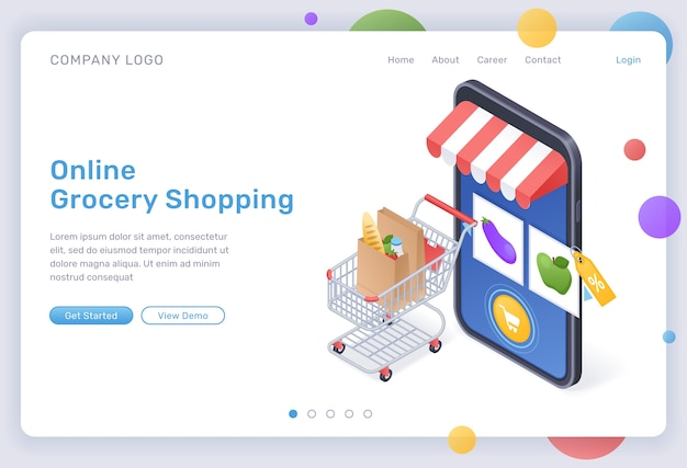 Online grocery shopping isometric landing page, digital store for food purchasing, goods in trolley at huge smartphone with internet market mobile app on screen. cyber shop 3d web banner Free Vector