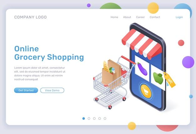 Изометрическая целевая страница для продуктовых покупок в интернете, цифровой магазин для покупок продуктов питания, товары в тележке на огромном смартфоне с мобильным приложением для интернет-рынка на экране. интернет-магазин 3d веб-баннер Бесплатные векторы