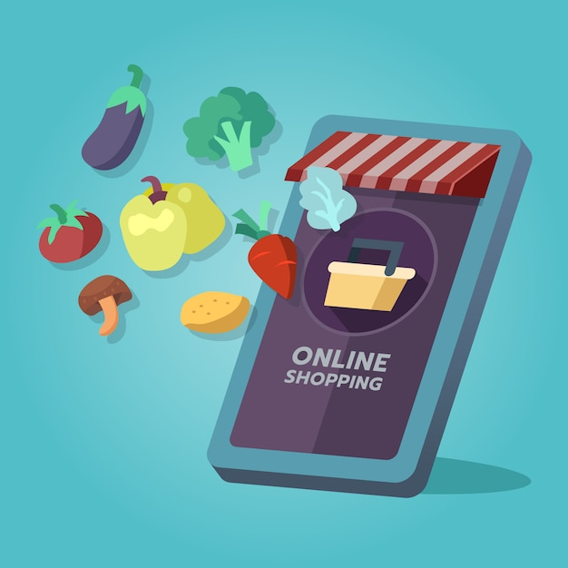 Online grocery shopping store Premium Vector