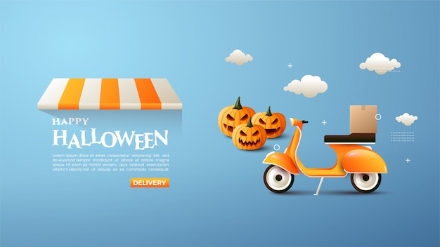 Online halloween shopping banner with pumpkin and vespa  illustrations. Premium Vector