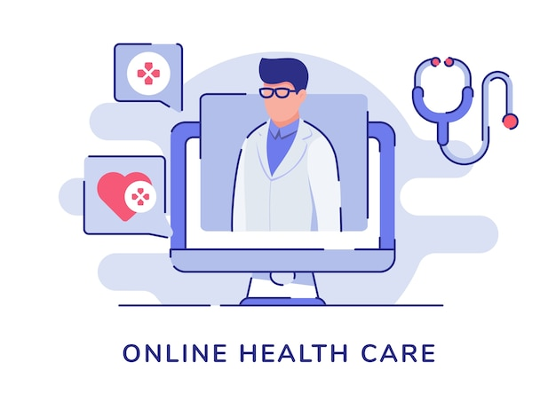 Online health care concept with doctor character computer with flat style Premium Vector