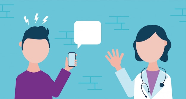 Online health technology with man using smartphone and doctor Premium Vector