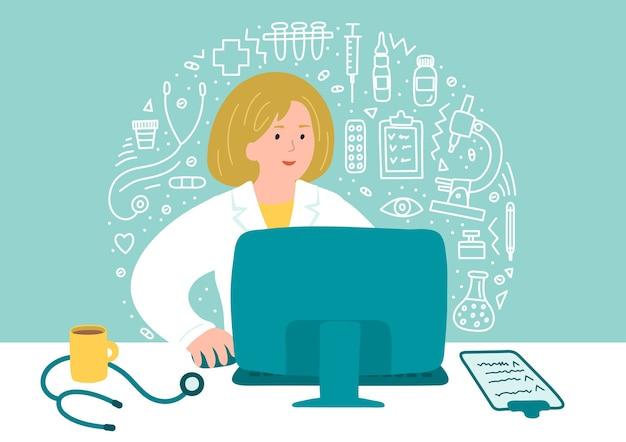 Консультации по вопросам здравоохранения онлайн. женщина-врач сидит возле компьютера с каракули здравоохранения. Premium векторы
