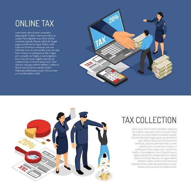 Dichiarazione dei redditi online e personaggi degli ispettori che raccolgono contanti. banner orizzontale isometrica illustrazione vettoriale Vettore gratuito