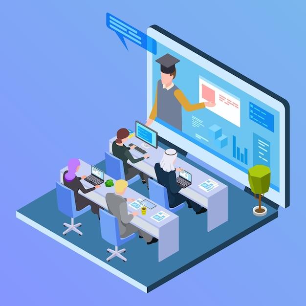 Изометрическая концепция онлайн-международного образования Premium векторы