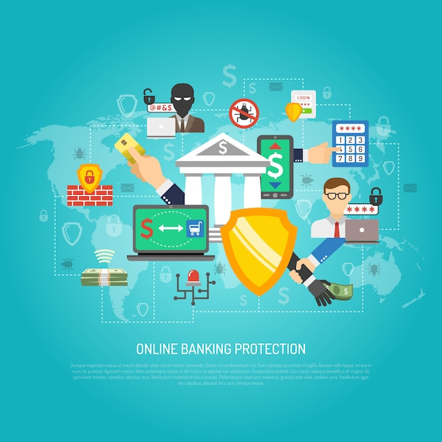 Online internet banking protection concept poster Free Vector