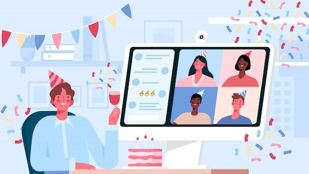 온라인 인터넷 파티, 생일, 친구 만나기. 격리 모드에서의 생일 축하. 프리미엄 벡터