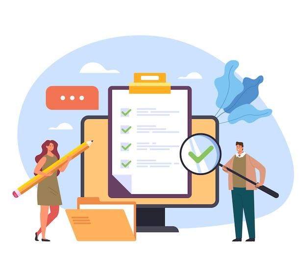 オンラインインターネットウェブアンケートチェックマーク試験フィードバックテストトレーニングクラスの概念 Premiumベクター