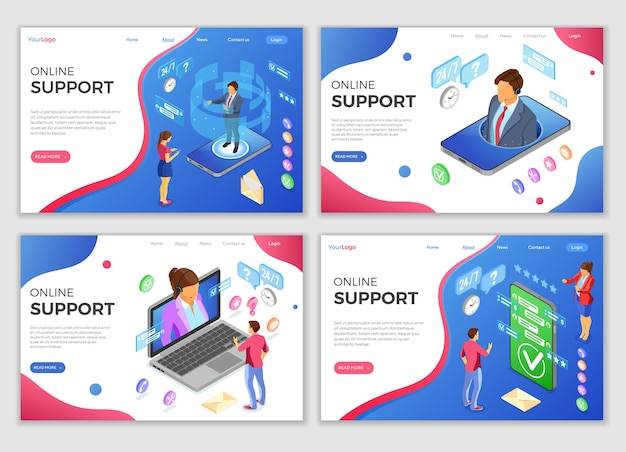 Online isometric customer support landing web page templates Premium Vector