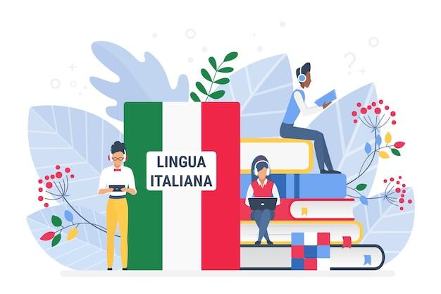 Онлайн-курсы итальянского языка, концепция удаленной школы или университета Premium векторы