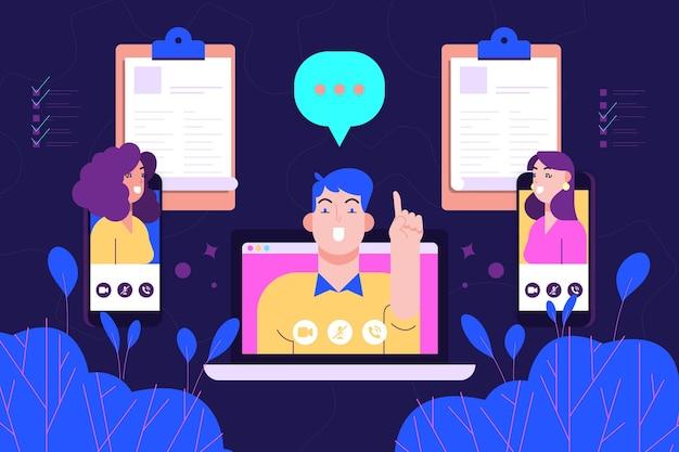 Online job interview concept Free Vector