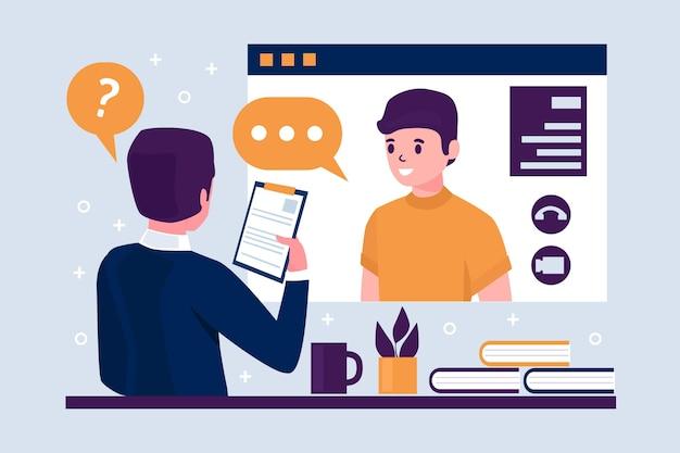 Free Vector   Online job interview concept