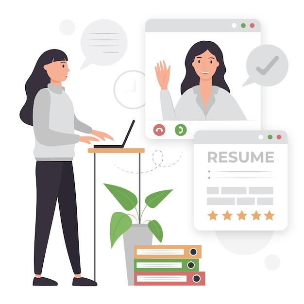 Online job interview illustrated Free Vector