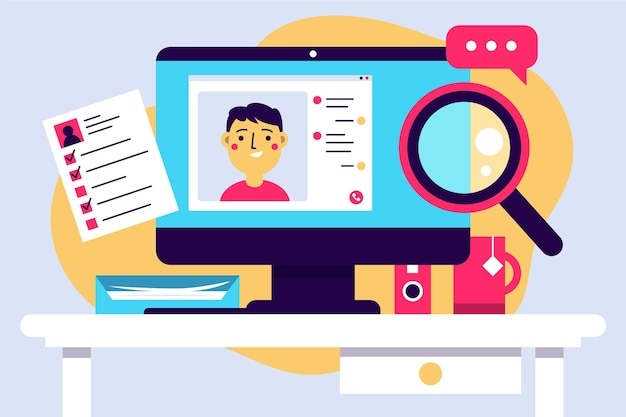 Free Vector   Online job interview illustration