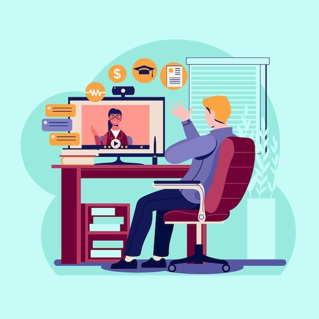 Premium Vector   Online job interview illustration