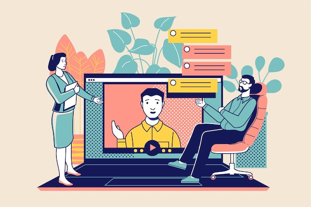 Online job interview illustration Free Vector