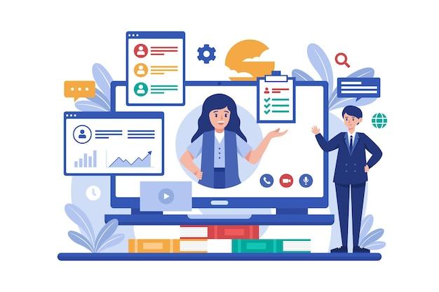 Online job interview Free Vector