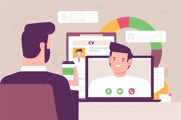 Colloquio di lavoro online Vettore gratuito