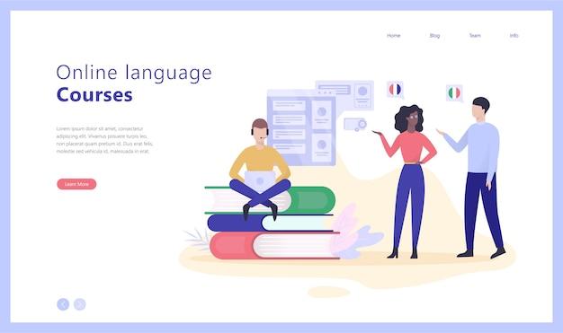 Онлайн-языковые курсы концепция веб-баннер иллюстрации Premium векторы