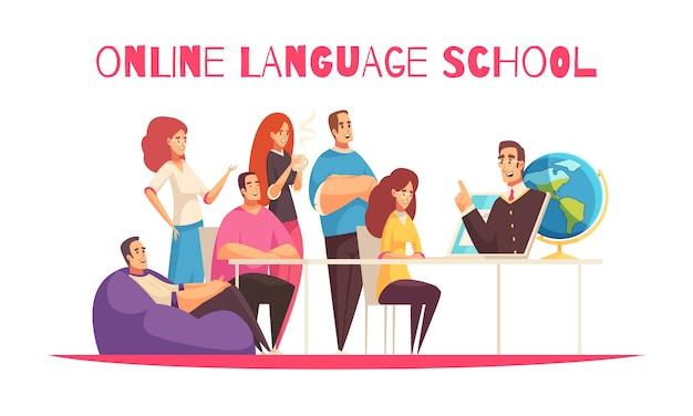 글로벌 커뮤니티 회원 교육 교사 태블릿 흰색 배경으로 온라인 언어 학교 평면 만화 가로 구성 무료 벡터