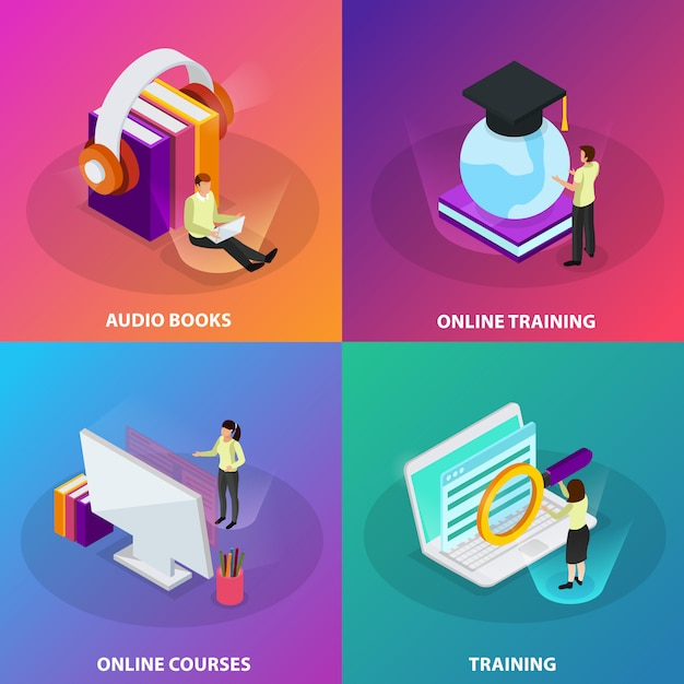 Online learning 2x2 design concept set of online courses online training audio books  square glow icons isometric Free Vector