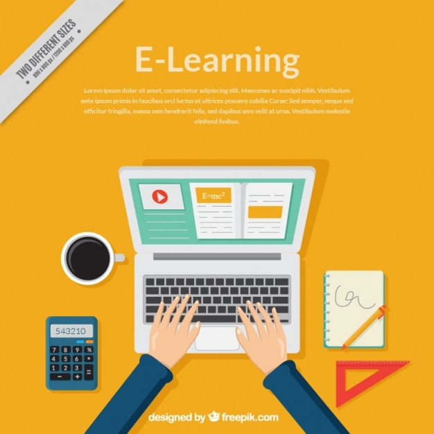 Online learning background with computer and person studying Free Vector