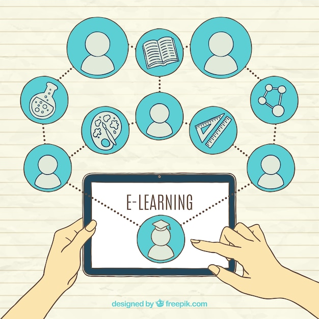 Online learning background with tablet and elements ...