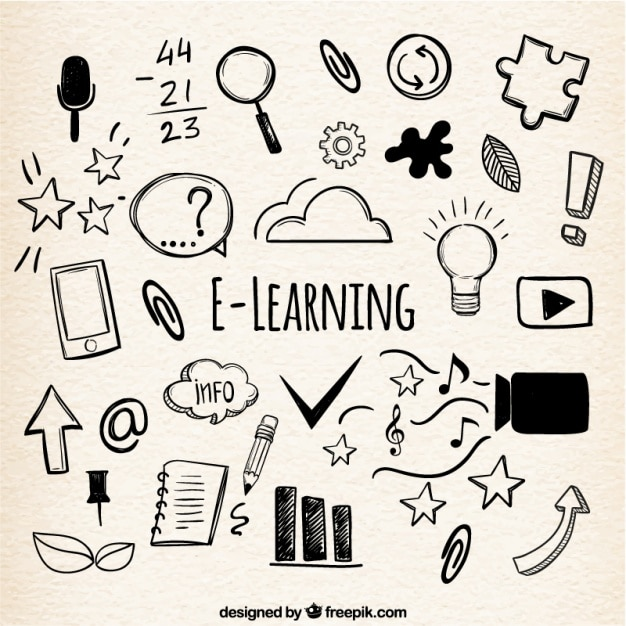 Online learning background with variety of hand-drawn items Free Vector