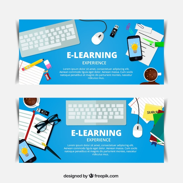 Online learning banners with decorative items vector Online vector editor