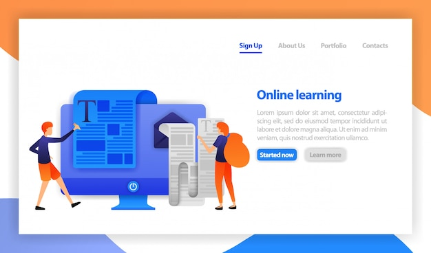 Online learning by reading and writing Premium Vector