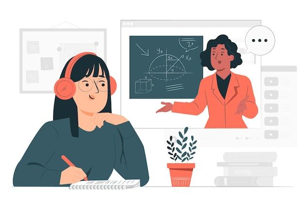 Иллюстрация концепции онлайн-обучения Бесплатные векторы