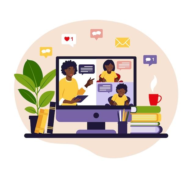 オンライン学習の概念。オンラインクラス。黒板の先生、ビデオレッスン。 Premiumベクター