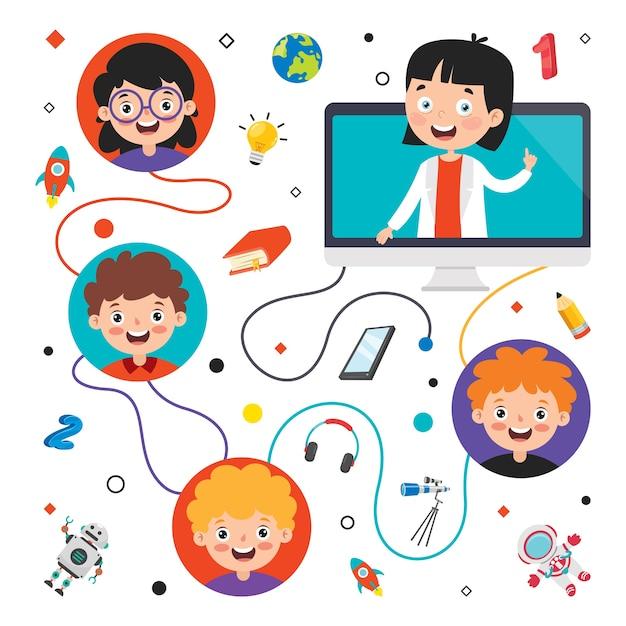 漫画のキャラクターとオンライン学習の概念 Premiumベクター