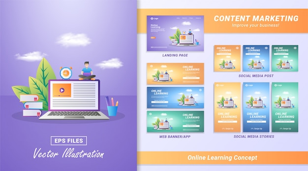 Online learning concept Premium Vector