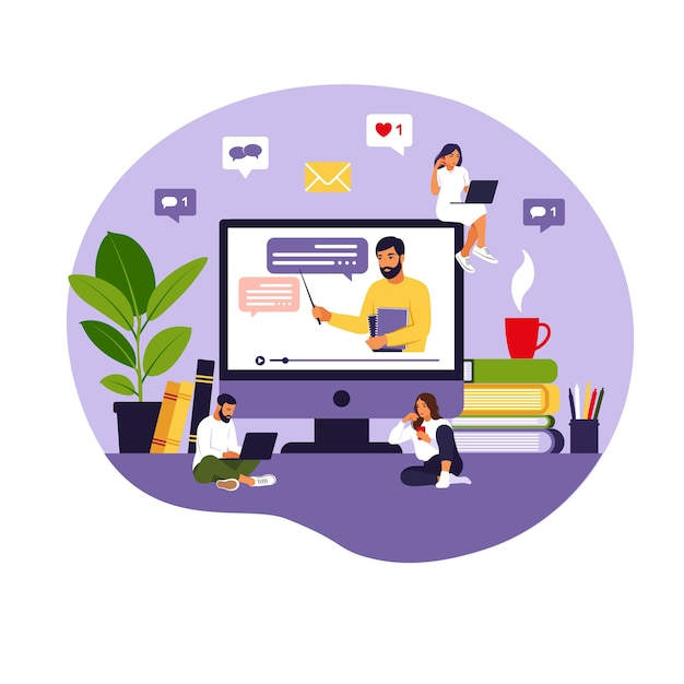 オンライン学習の概念。 Premiumベクター