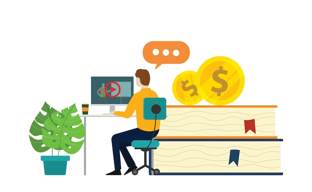 Online learning course Premium Vector