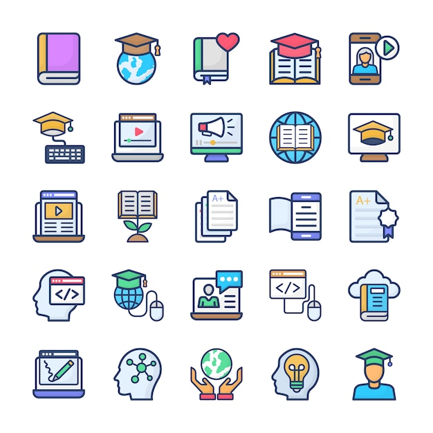 Online learning flat icons set Premium Vector