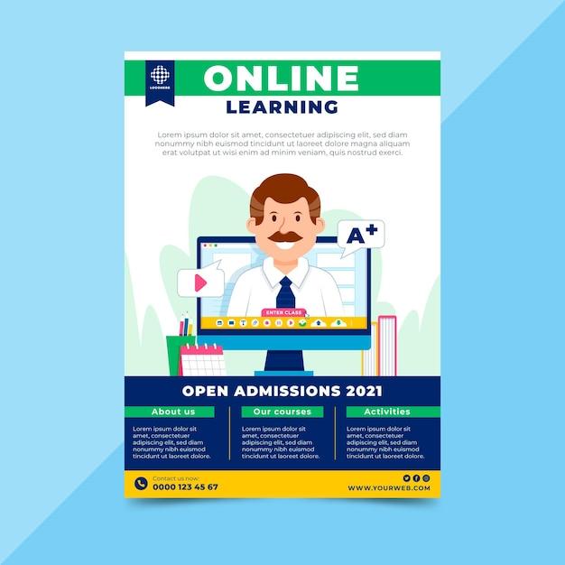 Шаблон флаера онлайн-обучения Бесплатные векторы