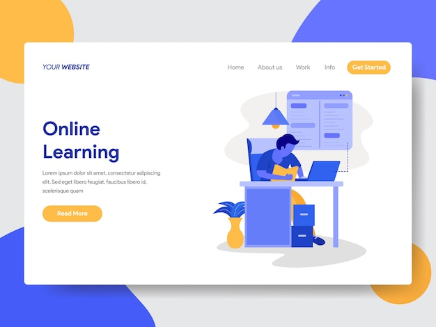 Online learning illustration for web pages Premium Vector