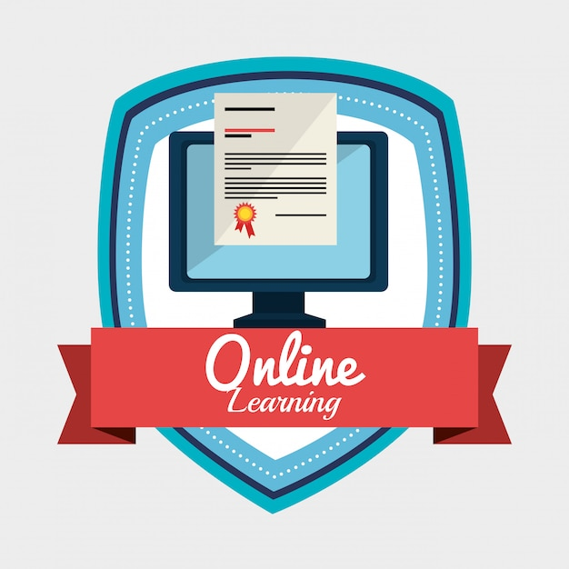 Online learning illustration Free Vector