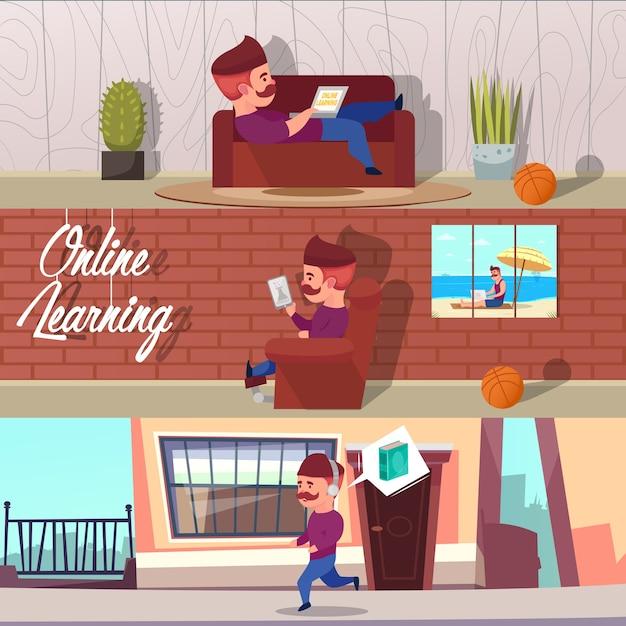 Set di illustrazioni di apprendimento online Vettore gratuito